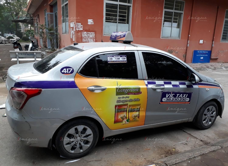 quảng cáo trên taxi vic
