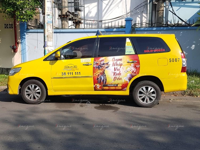 Soha game quảng cáo trên taxi